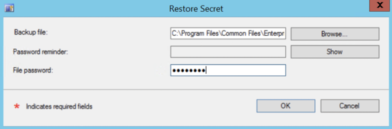 Browse to the backup file