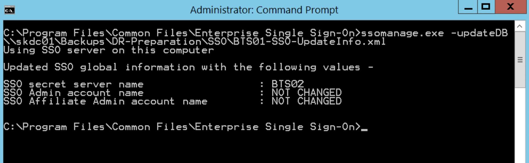 Type ssomanage -updatedb %ENV%-SSO-UpdateInfo.xml to update the master secret server name in the database
